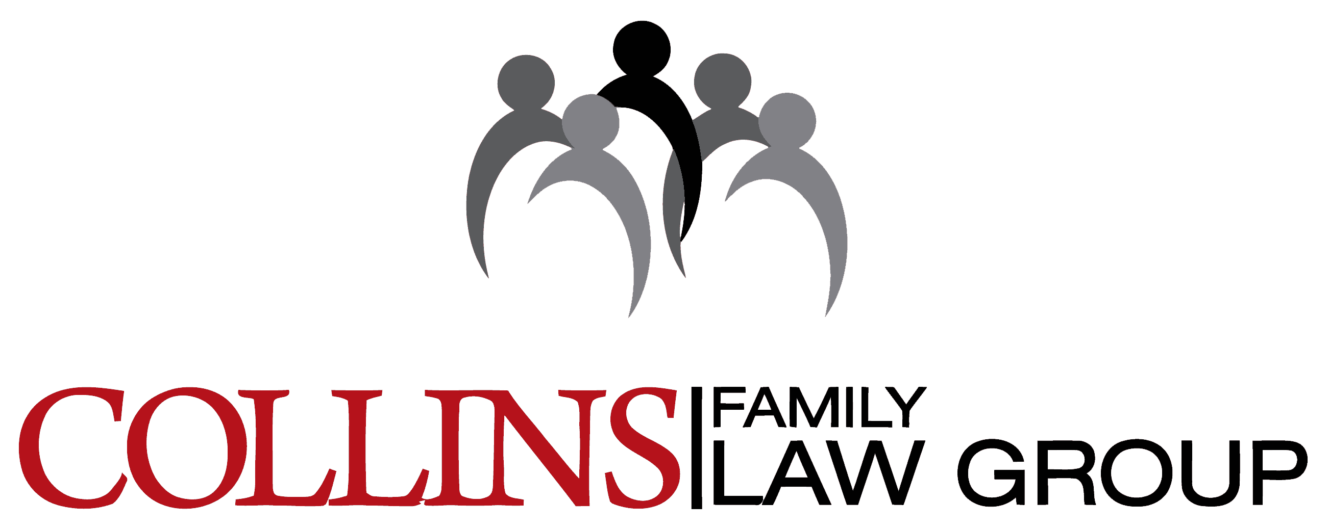 Collins Family Law Group logo icon with text in red and people icon in both grey and black