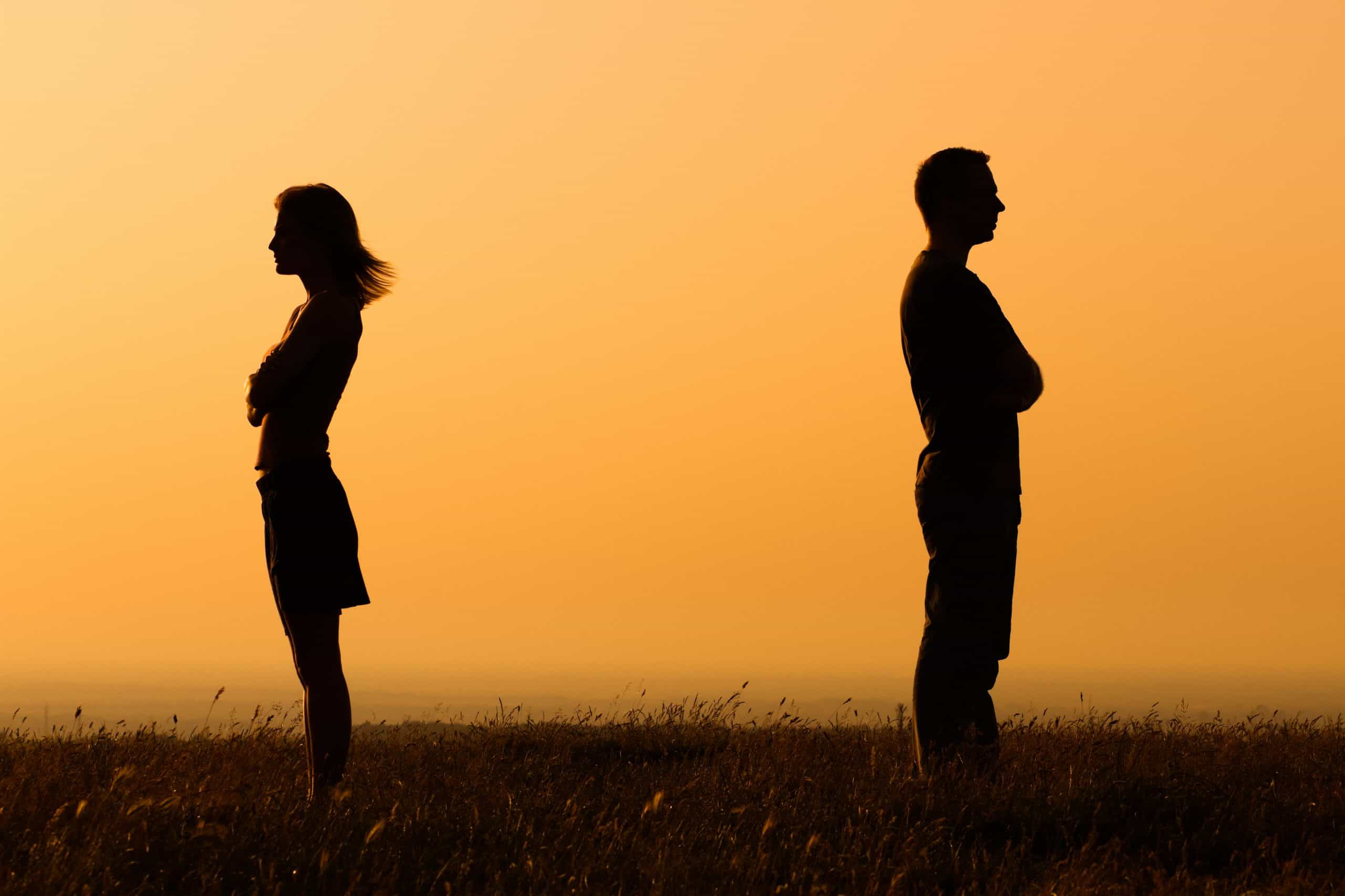 Silhouette of a angry woman and man facing away from  each other with in a field with an orange background