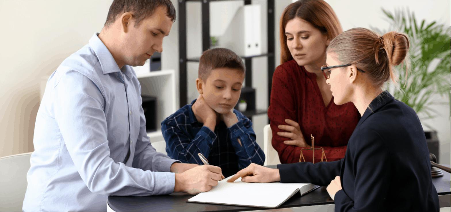 parent filling out documentation
